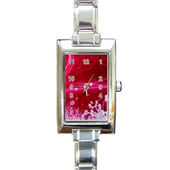 Crystal Flowers Rectangle Italian Charm Watch by Onesevenart