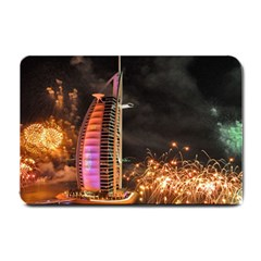 Dubai Burj Al Arab Hotels New Years Eve Celebration Fireworks Small Doormat  by Onesevenart