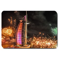 Dubai Burj Al Arab Hotels New Years Eve Celebration Fireworks Large Doormat  by Onesevenart