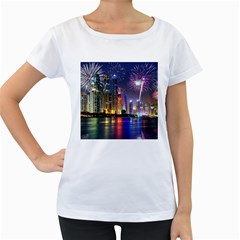 Dubai City At Night Christmas Holidays Fireworks In The Sky Skyscrapers United Arab Emirates Women s Loose-Fit T-Shirt (White) by Onesevenart