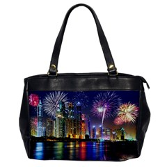 Dubai City At Night Christmas Holidays Fireworks In The Sky Skyscrapers United Arab Emirates Office Handbags by Onesevenart