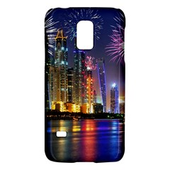 Dubai City At Night Christmas Holidays Fireworks In The Sky Skyscrapers United Arab Emirates Galaxy S5 Mini by Onesevenart