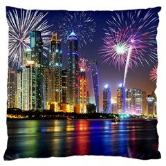 Dubai City At Night Christmas Holidays Fireworks In The Sky Skyscrapers United Arab Emirates Large Flano Cushion Case (two Sides) by Onesevenart
