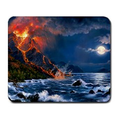 Eruption Of Volcano Sea Full Moon Fantasy Art Large Mousepads by Onesevenart