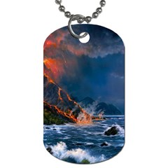 Eruption Of Volcano Sea Full Moon Fantasy Art Dog Tag (two Sides) by Onesevenart