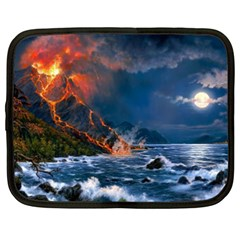 Eruption Of Volcano Sea Full Moon Fantasy Art Netbook Case (XXL)  by Onesevenart