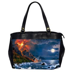 Eruption Of Volcano Sea Full Moon Fantasy Art Office Handbags (2 Sides)  by Onesevenart