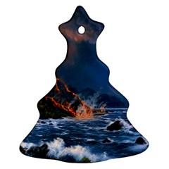 Eruption Of Volcano Sea Full Moon Fantasy Art Christmas Tree Ornament (two Sides) by Onesevenart