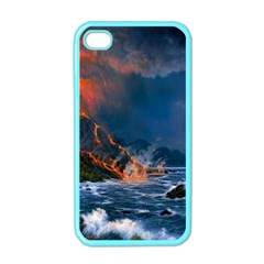 Eruption Of Volcano Sea Full Moon Fantasy Art Apple Iphone 4 Case (color) by Onesevenart