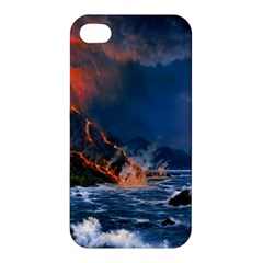 Eruption Of Volcano Sea Full Moon Fantasy Art Apple Iphone 4/4s Premium Hardshell Case by Onesevenart
