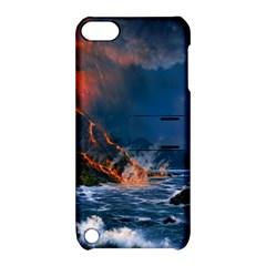 Eruption Of Volcano Sea Full Moon Fantasy Art Apple Ipod Touch 5 Hardshell Case With Stand by Onesevenart