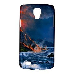 Eruption Of Volcano Sea Full Moon Fantasy Art Galaxy S4 Active by Onesevenart