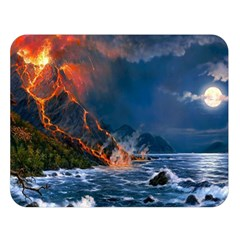 Eruption Of Volcano Sea Full Moon Fantasy Art Double Sided Flano Blanket (large)  by Onesevenart
