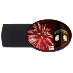 Fireworks Explode Behind The Houses Of Parliament And Big Ben On The River Thames During New Year's Usb Flash Drive Oval (4 Gb) by Onesevenart