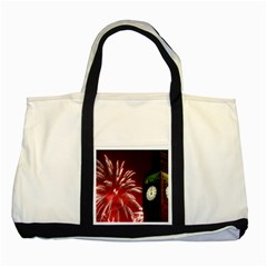 Fireworks Explode Behind The Houses Of Parliament And Big Ben On The River Thames During New Year's Two Tone Tote Bag by Onesevenart