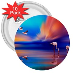 Flamingo Lake Birds In Flight Sunset Orange Sky Red Clouds Reflection In Lake Water Art 3  Buttons (10 Pack)  by Onesevenart