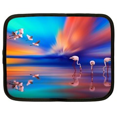 Flamingo Lake Birds In Flight Sunset Orange Sky Red Clouds Reflection In Lake Water Art Netbook Case (xxl)  by Onesevenart