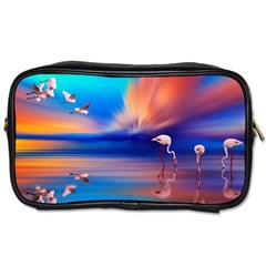 Flamingo Lake Birds In Flight Sunset Orange Sky Red Clouds Reflection In Lake Water Art Toiletries Bags 2 Side by Onesevenart