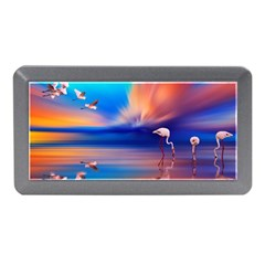 Flamingo Lake Birds In Flight Sunset Orange Sky Red Clouds Reflection In Lake Water Art Memory Card Reader (mini) by Onesevenart