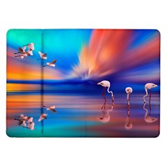 Flamingo Lake Birds In Flight Sunset Orange Sky Red Clouds Reflection In Lake Water Art Samsung Galaxy Tab 10 1  P7500 Flip Case by Onesevenart