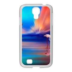 Flamingo Lake Birds In Flight Sunset Orange Sky Red Clouds Reflection In Lake Water Art Samsung Galaxy S4 I9500/ I9505 Case (white) by Onesevenart