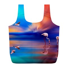 Flamingo Lake Birds In Flight Sunset Orange Sky Red Clouds Reflection In Lake Water Art Full Print Recycle Bags (l)  by Onesevenart