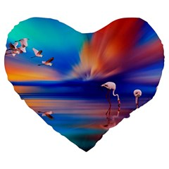 Flamingo Lake Birds In Flight Sunset Orange Sky Red Clouds Reflection In Lake Water Art Large 19  Premium Flano Heart Shape Cushions by Onesevenart