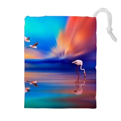Flamingo Lake Birds In Flight Sunset Orange Sky Red Clouds Reflection In Lake Water Art Drawstring Pouches (extra Large) by Onesevenart