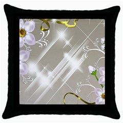 Floral Delight Throw Pillow Case (black) by Onesevenart