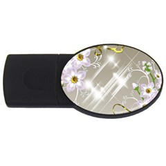 Floral Delight Usb Flash Drive Oval (4 Gb) by Onesevenart