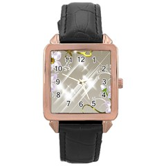 Floral Delight Rose Gold Leather Watch  by Onesevenart