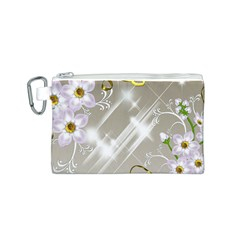 Floral Delight Canvas Cosmetic Bag (s) by Onesevenart