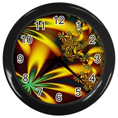 Floral Design Computer Digital Art Design Illustration Wall Clocks (black) by Onesevenart