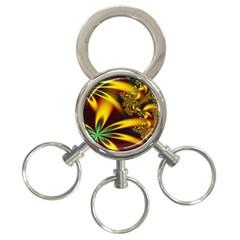 Floral Design Computer Digital Art Design Illustration 3 Ring Key Chains by Onesevenart