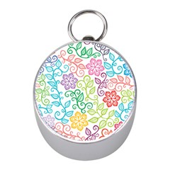 Texture Flowers Floral Seamless Mini Silver Compasses by Jojostore