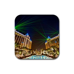 Galaxy Hotel Macau Cotai Laser Beams At Night Rubber Square Coaster (4 Pack)  by Onesevenart