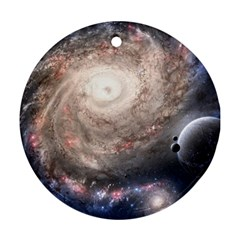 Galaxy Star Planet Round Ornament (two Sides) by Onesevenart