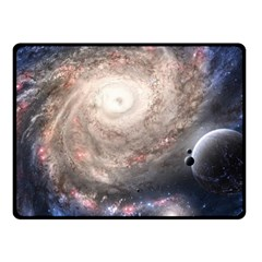 Galaxy Star Planet Fleece Blanket (Small) by Onesevenart