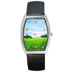 Green Landscape Green Grass Close Up Blue Sky And White Clouds Barrel Style Metal Watch by Onesevenart