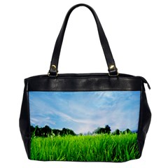 Green Landscape Green Grass Close Up Blue Sky And White Clouds Office Handbags by Onesevenart