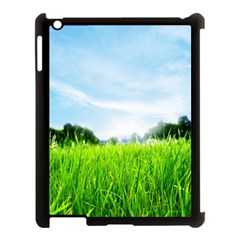 Green Landscape Green Grass Close Up Blue Sky And White Clouds Apple iPad 3/4 Case (Black) by Onesevenart