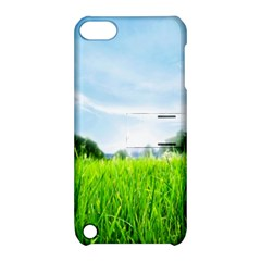 Green Landscape Green Grass Close Up Blue Sky And White Clouds Apple Ipod Touch 5 Hardshell Case With Stand by Onesevenart