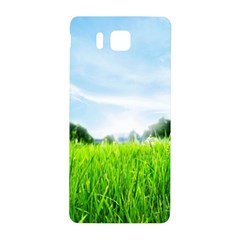 Green Landscape Green Grass Close Up Blue Sky And White Clouds Samsung Galaxy Alpha Hardshell Back Case by Onesevenart