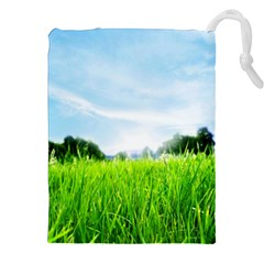 Green Landscape Green Grass Close Up Blue Sky And White Clouds Drawstring Pouches (xxl) by Onesevenart