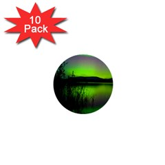 Green Northern Lights Canada 1  Mini Buttons (10 Pack)  by Onesevenart