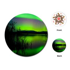 Green Northern Lights Canada Playing Cards (round)  by Onesevenart