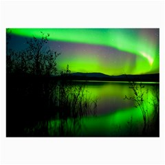 Green Northern Lights Canada Large Glasses Cloth by Onesevenart