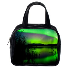 Green Northern Lights Canada Classic Handbags (One Side) by Onesevenart