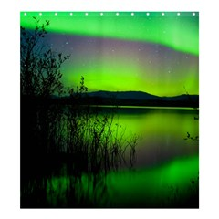 Green Northern Lights Canada Shower Curtain 66  X 72  (large)  by Onesevenart