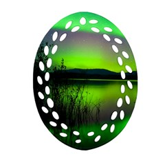 Green Northern Lights Canada Oval Filigree Ornament (two Sides) by Onesevenart
